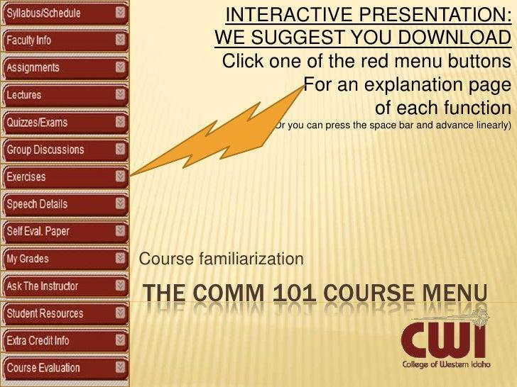 Comm101 Online Course Menu