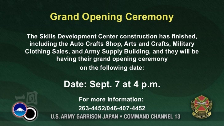Grand Opening CeremonyThe Skills Development Center construction has finished, including the Auto Crafts Shop, Arts and Cr...