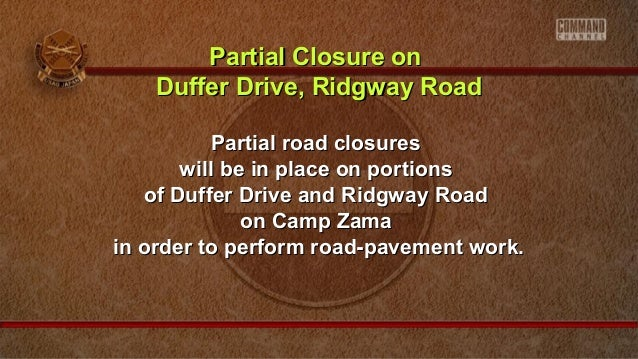 Partial Closure on Duffer Drive, Ridgway Road Partial road closures will be in place on portions of Duffer Drive and Ridgw...
