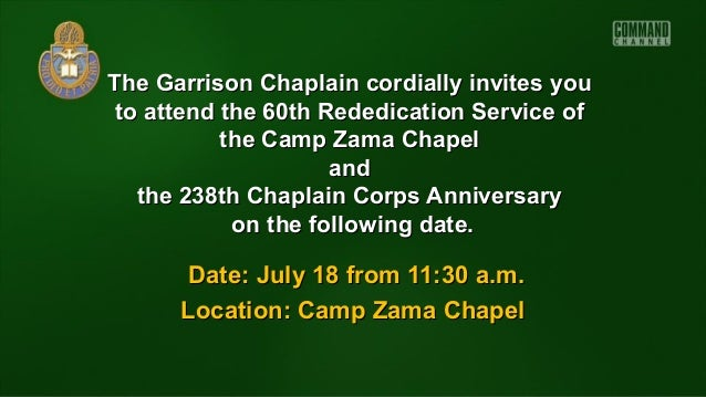 The Garrison Chaplain cordially invites youThe Garrison Chaplain cordially invites you to attend the 60thto attend the 60t...
