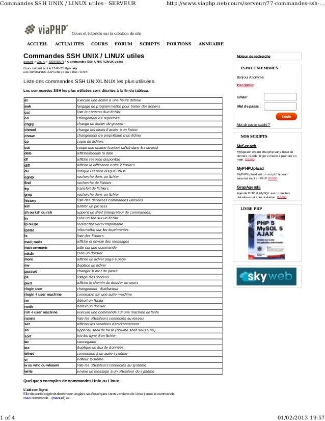 Commandes SSH UNIX / LINUX utiles - SERVEUR                                                                   http://www.v...