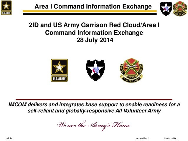 v6.4- 1 Unclassified Area I Command Information Exchange Unclassified / 2ID and US Army Garrison Red Cloud/Area I Command ...