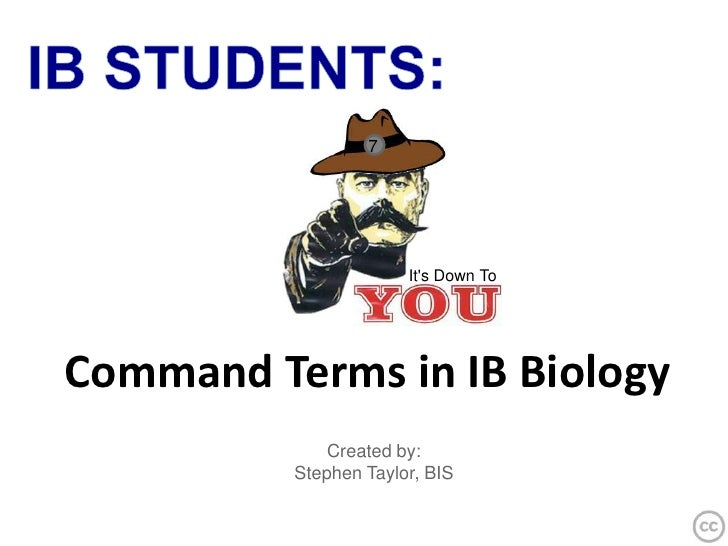 IB STUDENTS:<br />7<br />It's Down To<br />Command Terms in IB Biology<br />Created by:  <br />Stephen Taylor, BIS<br />