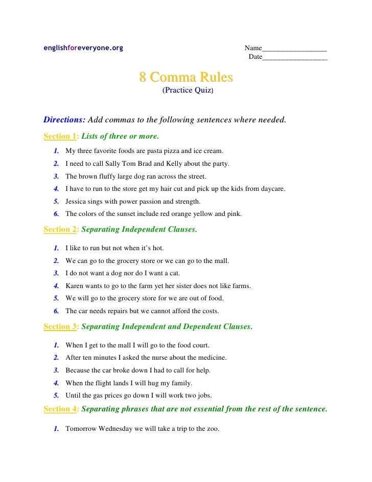 All Worksheets punctuation comma worksheets : Commas practice quiz