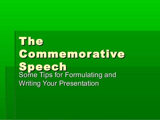Writing a commemorative speech