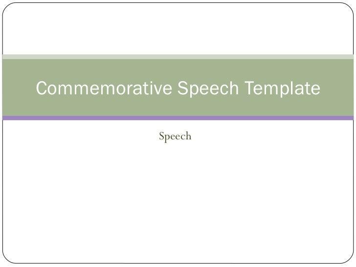 Speech Commemorative Speech Template