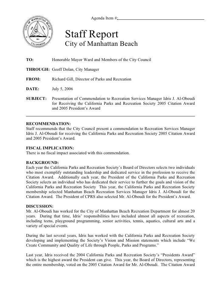 Agenda Item #:                           Staff Report                        City of Manhattan Beach  TO:            Honor...