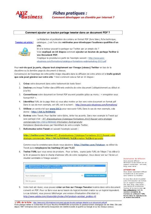 Comment ajouter un bouton partage tweeter dans un document PDF ?                           La Rédaction et publication de ...