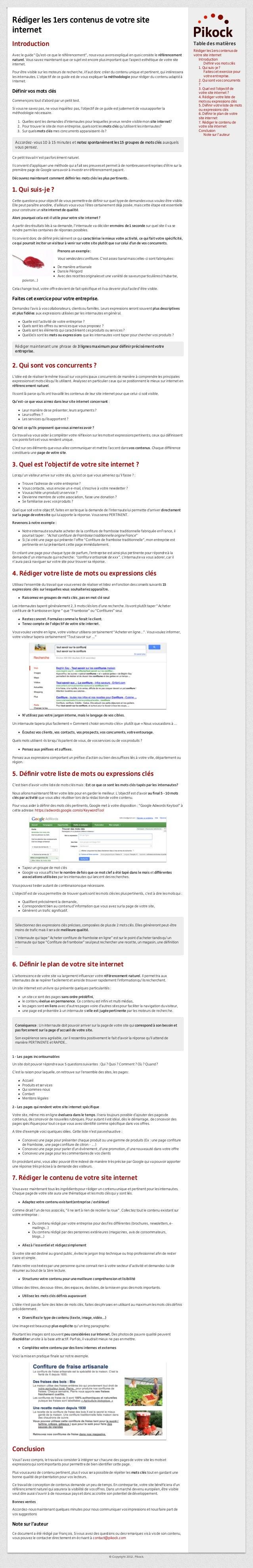 """Rédiger les 1ers contenus de votre site internet Introduction  Table des matières  Avec le guide """"Qu'est-ce que le référen..."""