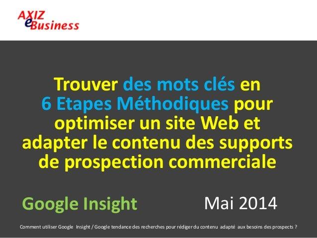 Comment utiliser Google Insight / Google tendance des recherches pour rédiger du contenu adapté aux besoins des prospects ...