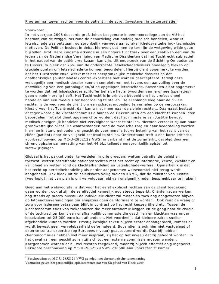 Commentaar op mc u-2852129 vws zeven rechten voor de patiënt met voetnoten