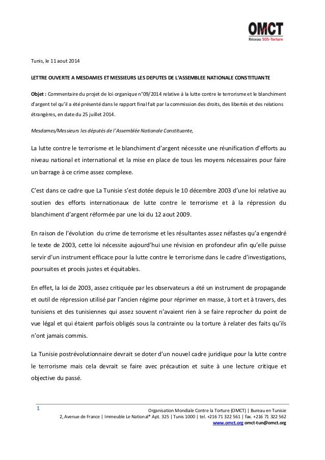 1 Organisation Mondiale Contre la Torture (OMCT) | Bureau en Tunisie 2, Avenue de France | Immeuble Le National* Apt. 325 ...