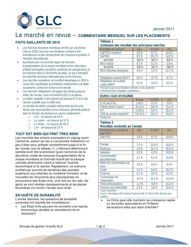 Janvier 2011Le marché en revue –                                      COMMENTAIRE MENSUEL SUR LES PLACEMENTSFAITS SAILLAN...