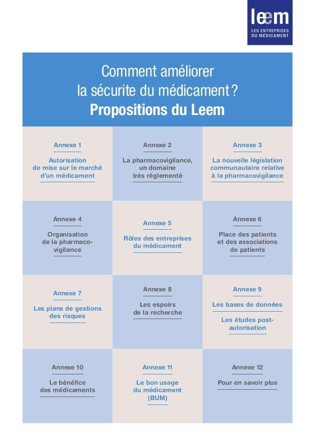 Comment améliorer la sécurite du médicament? Propositions du Leem Annexe 1 Autorisation de mise sur le marché d'un médica...