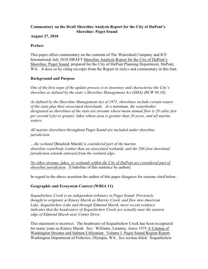 Commentary On The Draft Shoreline Analysis Report -DuPont Washington