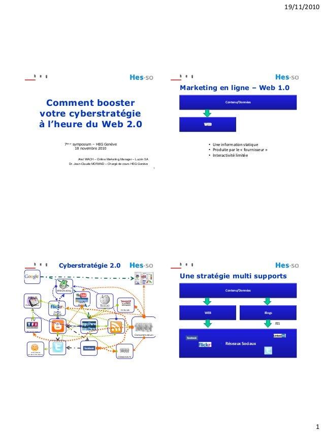 19/11/2010 1 1 Comment booster votre cyberstratégie à l'heure du Web 2.0 7ème symposium – HEG Genève 18 novembre 2010 Arie...