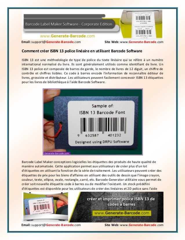 Email: support@Generate-Barcode.com Site Web: www.Generate-Barcode.com Email: support@Generate-Barcode.com Site Web: www.G...