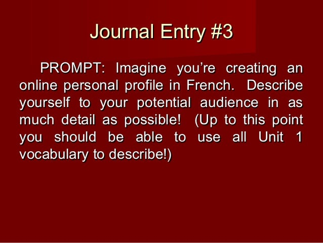 Journal Entry #3Journal Entry #3 PROMPT: Imagine you're creating anPROMPT: Imagine you're creating an online personal prof...