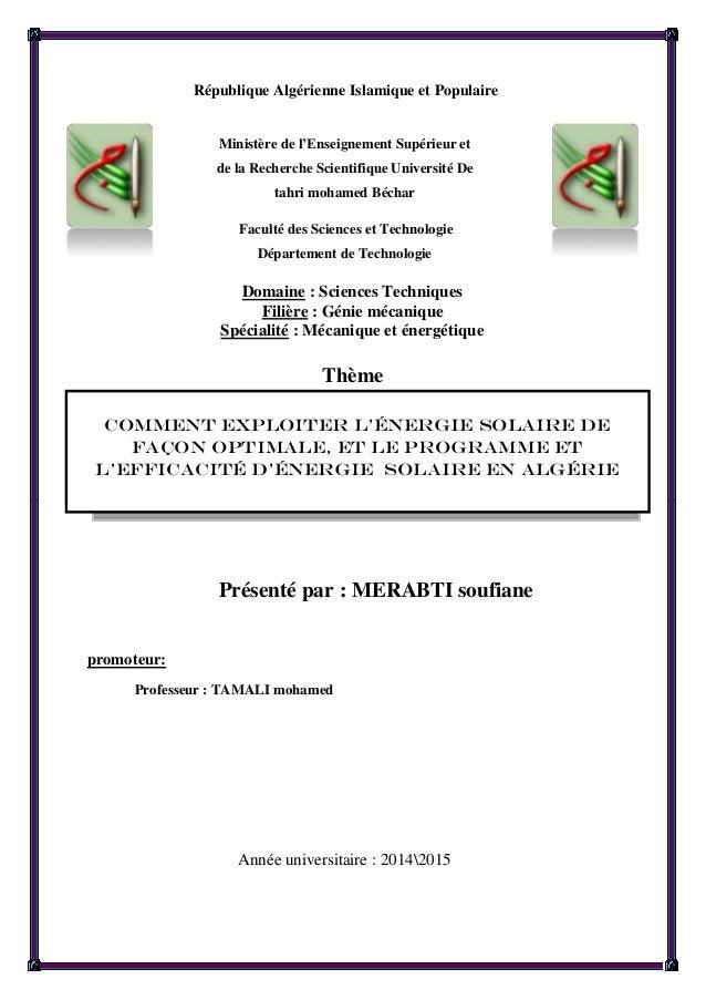 République Algérienne Islamique et Populaire Ministère de l'Enseignement Supérieur et de la Recherche Scientifique Univers...