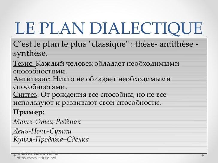 Dissertation francais plan dialectique
