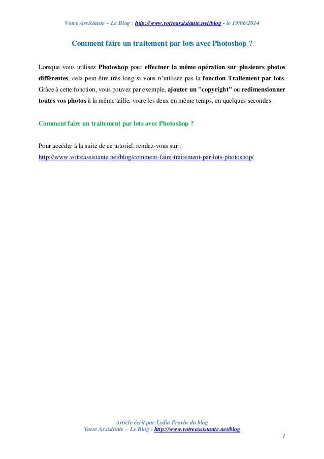 Votre Assistante – Le Blog : http://www.votreassistante.net/blog - le 19/06/2014 Article écrit par Lydia Provin du blog Vo...