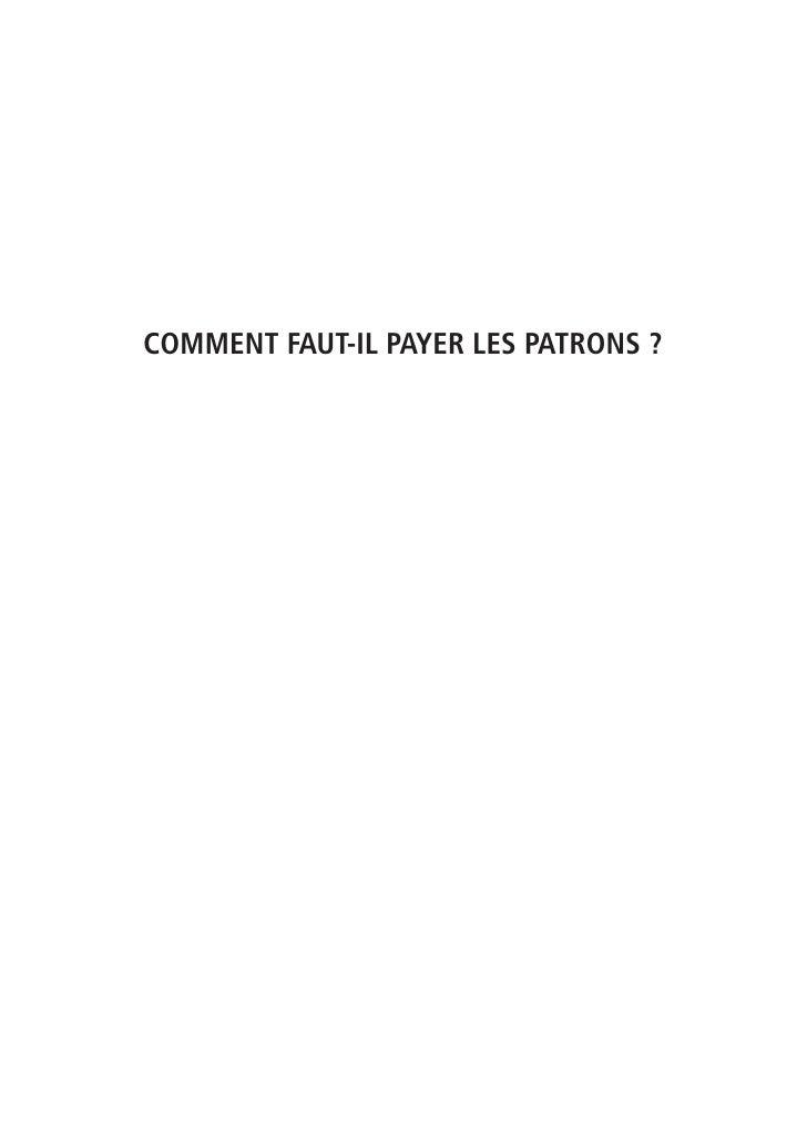 COMMENT FAUT-IL PAYER LES PATRONS?
