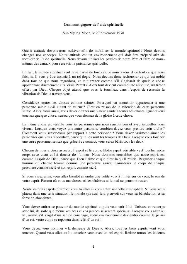 1 Comment gagner de l'aide spirituelle Sun Myung Moon, le 27 novembre 1978 Quelle attitude devons-nous cultiver afin de mo...