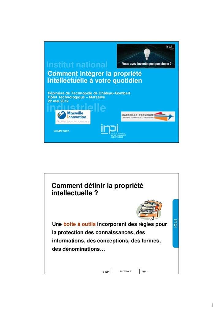 Institut nationalde laComment intégrer la propriétépropriété à votre quotidienintellectuelle                              ...