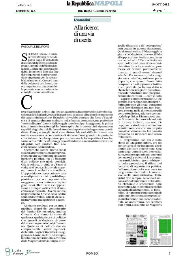 Lettori: n.d.                                      19-OTT-2012Diffusione: n.d.   Dir. Resp.: Giustino Fabrizio   da pag. 1...