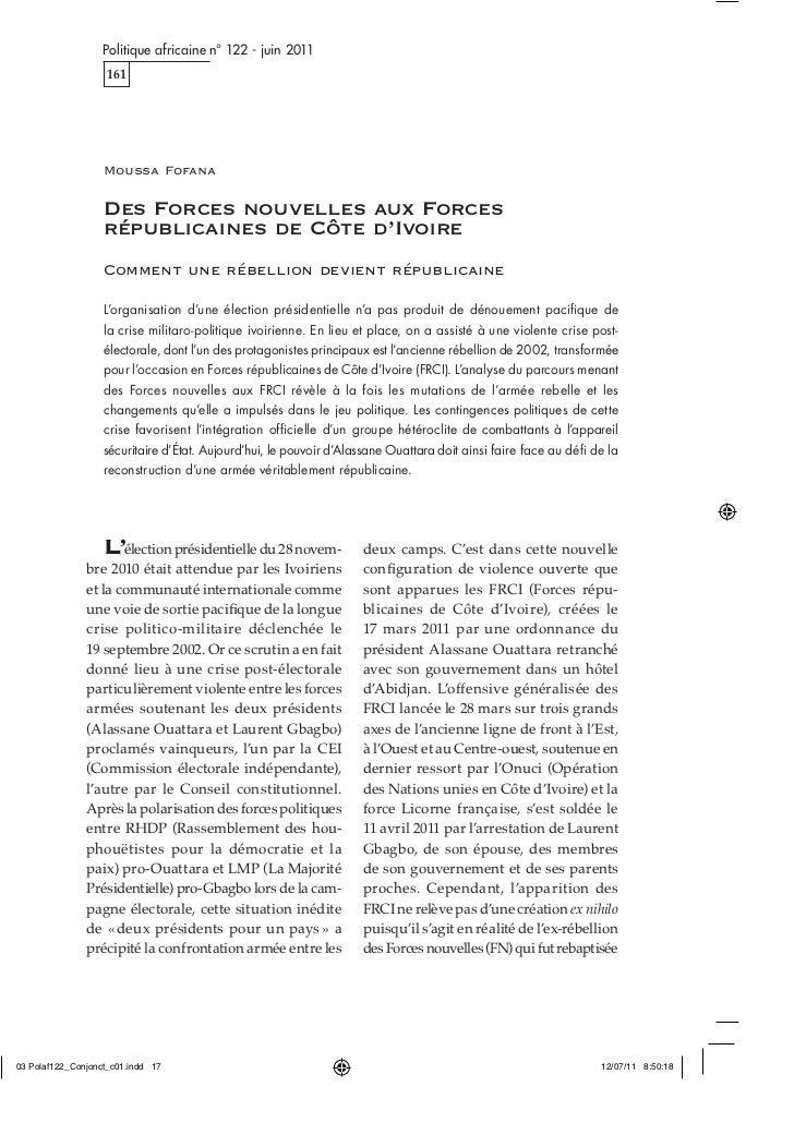 Politique africaine n° 122 - juin 2011   161  Moussa Fofana  Des Forces nouvelles aux Forces  républicaines de Côte d'Ivoi...