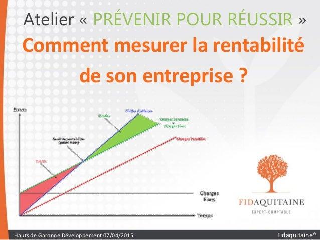Atelier « PRÉVENIR POUR RÉUSSIR » Comment mesurer la rentabilité de son entreprise ? Hauts de Garonne Développement 07/04/...