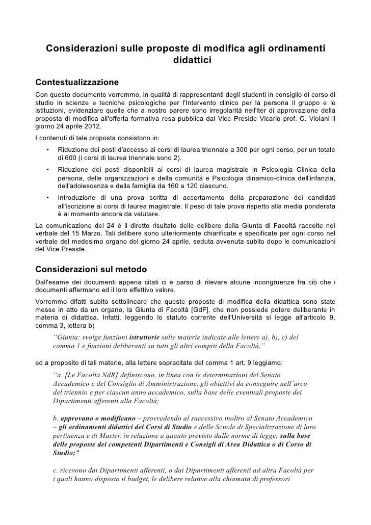 Considerazioni sulle proposte di modifica agli ordinamenti                             didatticiContestualizzazioneCon que...