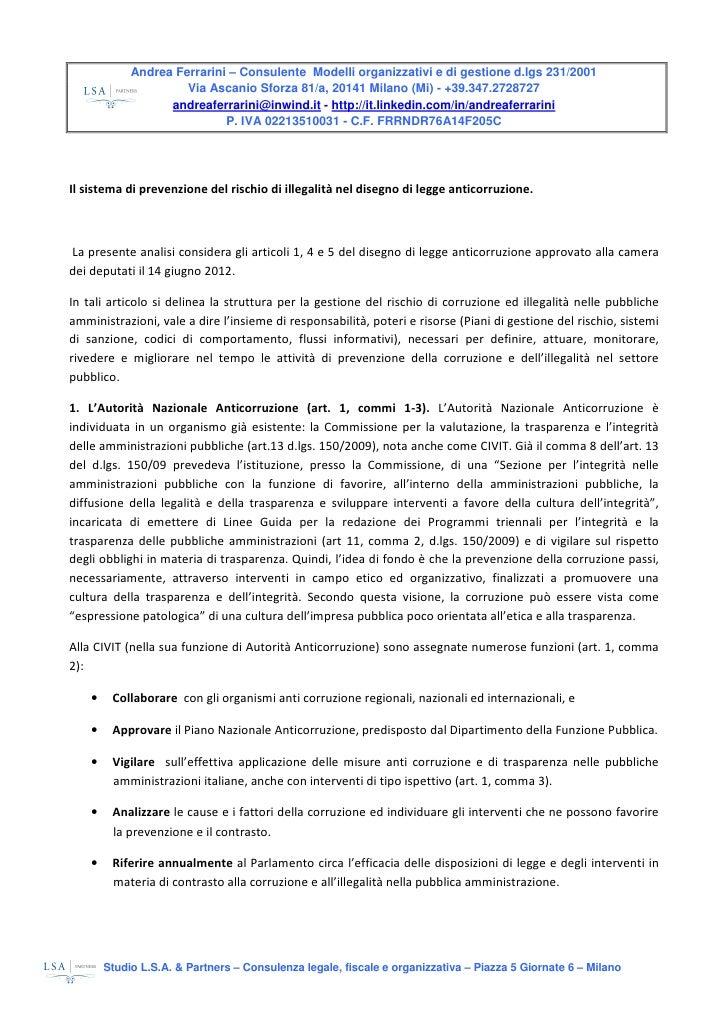 Commento A Ddl Anticorruzione Testo Ac4434 A