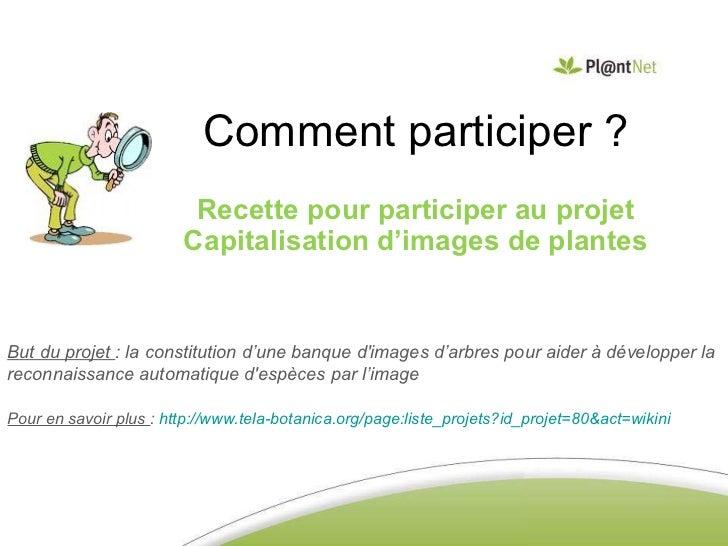 Comment participer ? Recette pour participer au projet Capitalisation d'images de plantes But du projet  : la constitution...