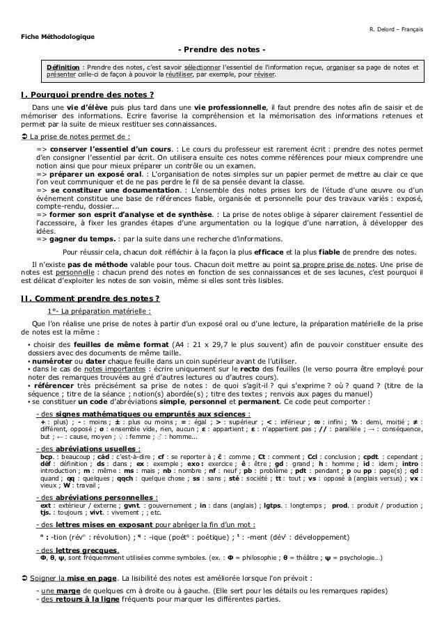 R. Delord – FrançaisFiche Méthodologique                                                       - Prendre des notes -      ...