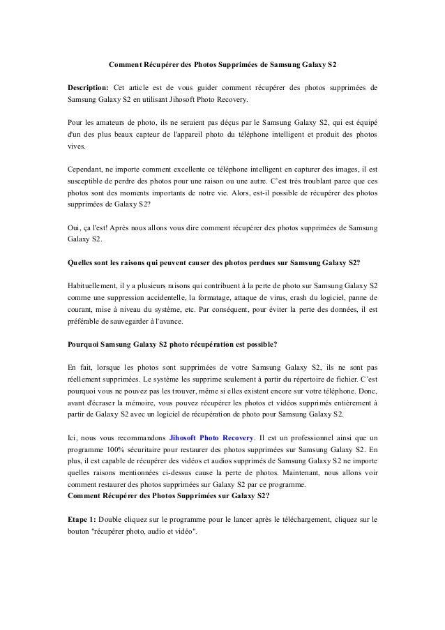 Comment Récupérer des Photos Supprimées de Samsung Galaxy S2 Description: Cet article est de vous guider comment récupérer...