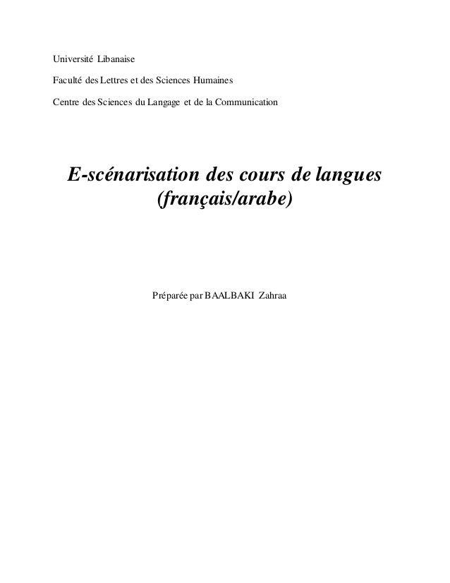Université Libanaise Faculté des Lettres et des Sciences Humaines Centre des Sciences du Langage et de la Communication E-...