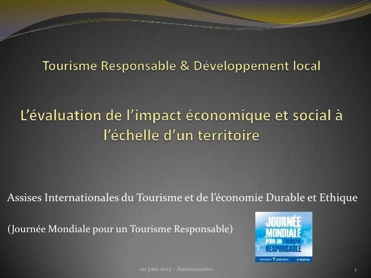 Assises Internationales du Tourisme et de l'économie Durable et Ethique(Journée Mondiale pour un Tourisme Responsable)    ...
