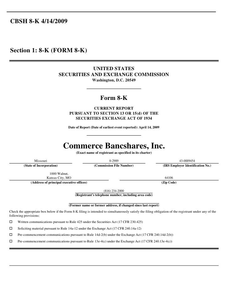 CBSH 8-K 4/14/2009    Section 1: 8-K (FORM 8-K)                                                   UNITED STATES           ...