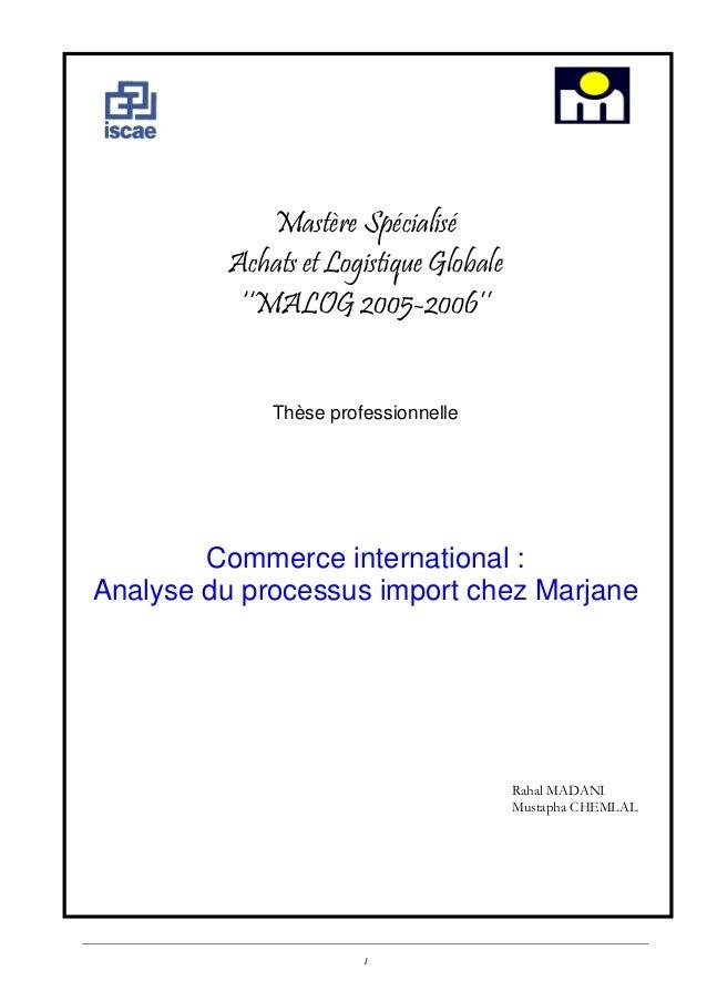 Mastère Spécialisé Achats et Logistique Globale ''MALOG 2005-2006'' Thèse professionnelle  Commerce international : Analys...