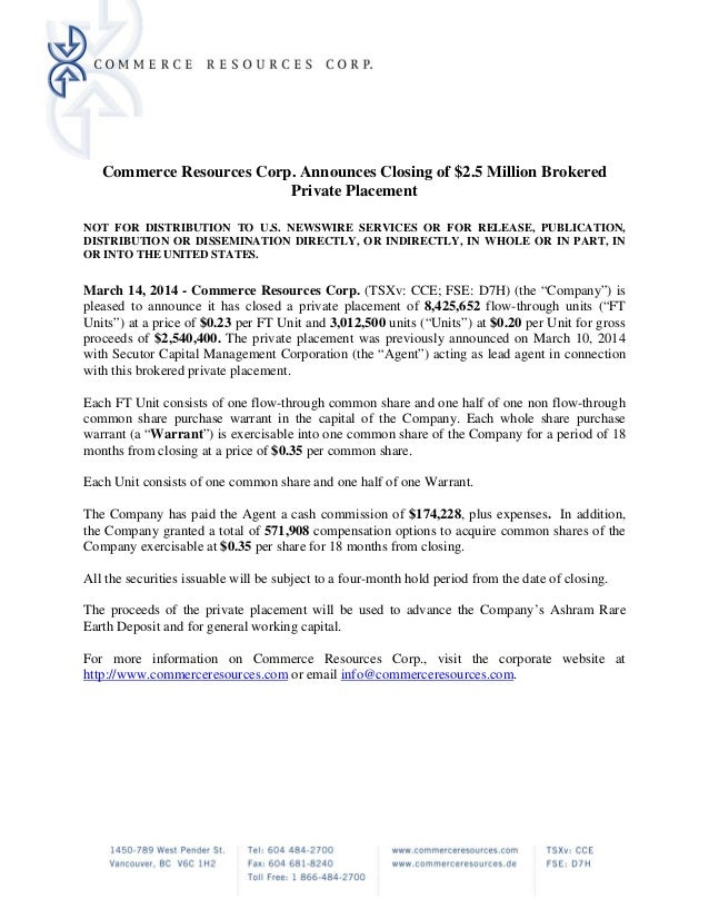 Commerce Resources Corp. Announces Closing of $2.5 Million Brokered Private Placement NOT FOR DISTRIBUTION TO U.S. NEWSWIR...
