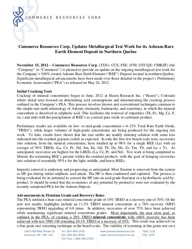 Commerce Resources Corp. Updates Metallurgical Test Work for its Ashram Rare                 Earth Element Deposit in Nort...
