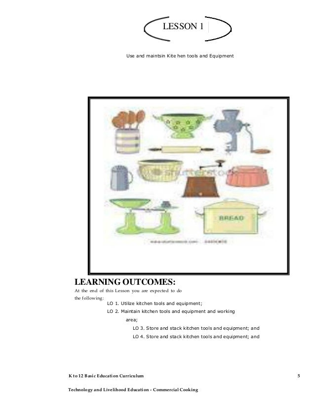 Cleaning tools and equipment drawing for Kitchen equipment and their uses