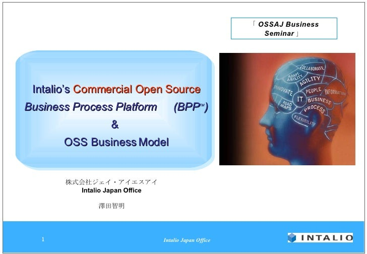 Intalio's  Commercial Open Source Business Process Platform   (BPP TM ) &  OSS Business Model 株式会社ジェイ・アイエスアイ Intalio Japan...