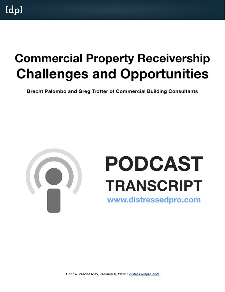 [dp]       Commercial Property Receivership   Challenges and Opportunities        Brecht Palombo and Greg Trotter of Comme...