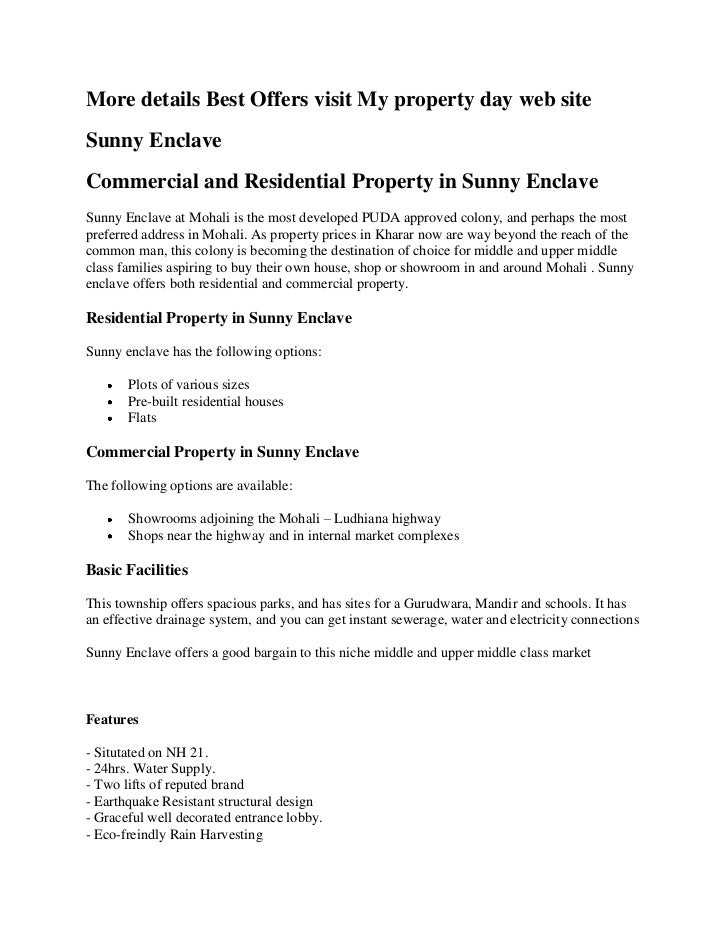More details Best Offers visit My property day web site<br />Sunny Enclave<br />Commercial and Residential Property in Sun...