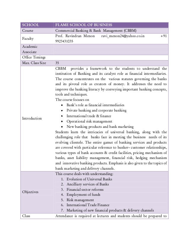 SCHOOL            FLAME SCHOOL OF BUSINESSCourse            Commercial Banking & Bank Management (CBBM)                  P...