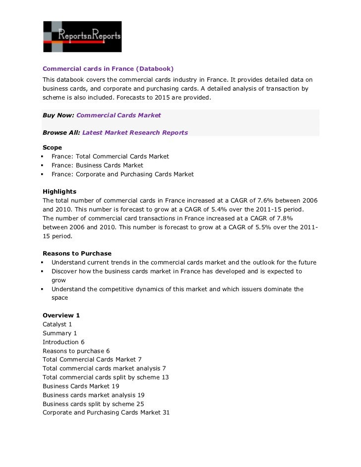Commercial cards in France (Databook)This databook covers the commercial cards industry in France. It provides detailed da...