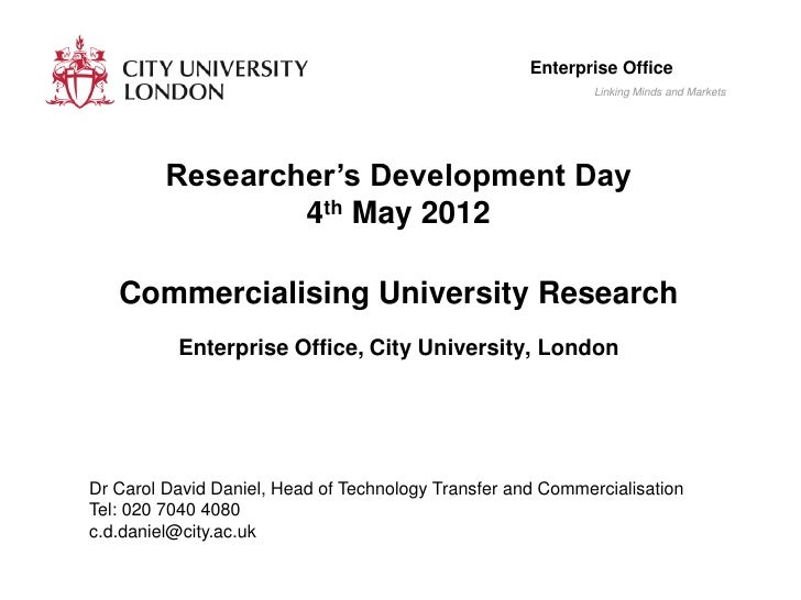 Commercialising university research