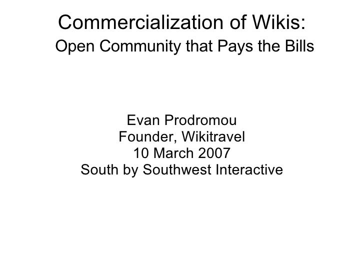 Commercialization of Wikis